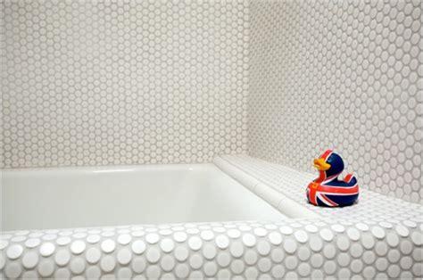 round bathroom tiles penny round tiled bathtub modern home decor