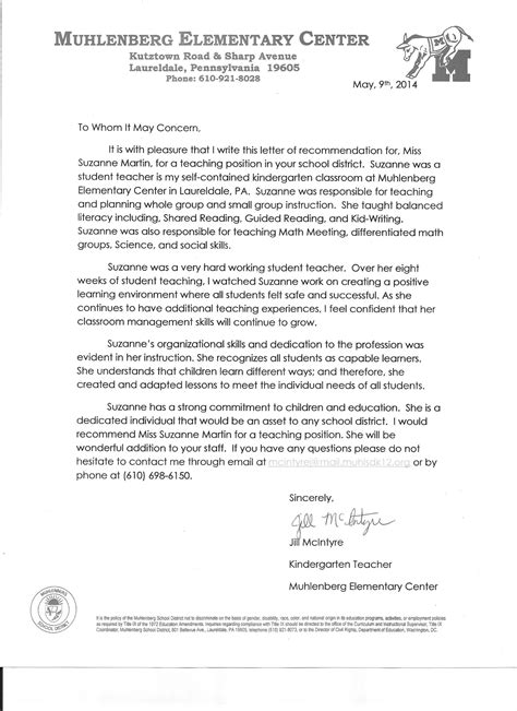 Recommendation Letter For Special Education Assistant Professional Suzanne Martin