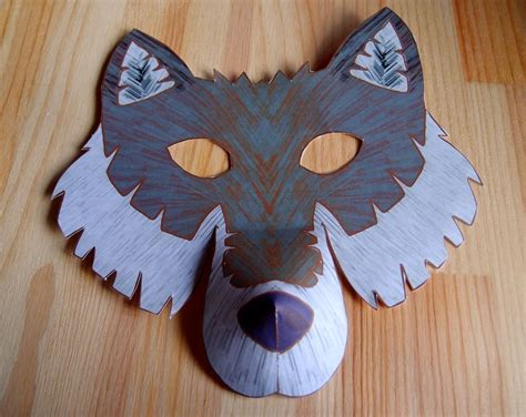 Wolf Paper Plate Craft - wolf mask printable craft kit kid s craft activity