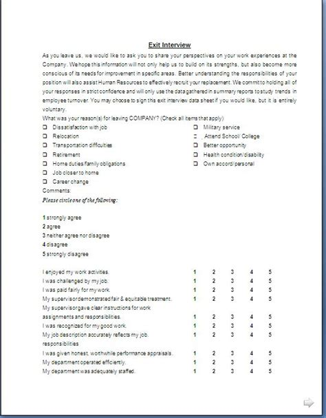 exit interview form format in doc pdf