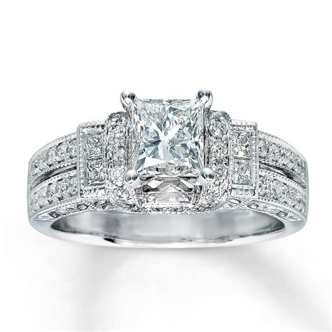 silver princess cut wedding rings for