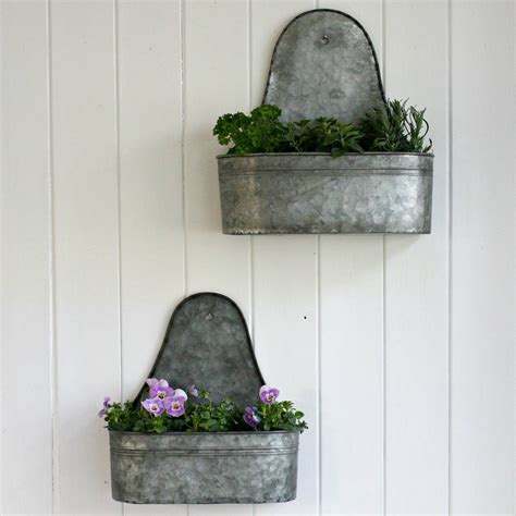 Planter Wall by Two Zinc Wall Planters By Magpie Living