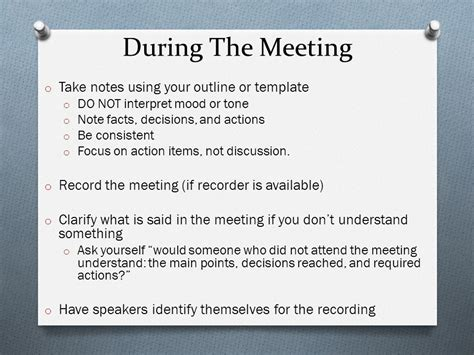 focus note taking template meeting minutes workshop ppt
