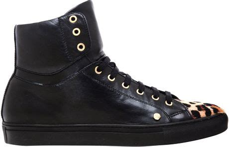 versus leather and ponyskin baseball boots in black for