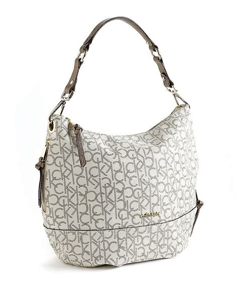 calvin klein hudson monogram hobo bag  white almond lyst