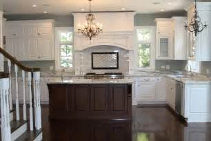 White Kitchen Dark Island White Kitchen Brown Island Dark Floors Paint Like