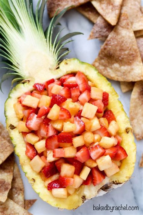 kid friendly fruit appetizers cinnamon tortillas pineapple salsa and tortillas on