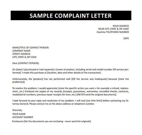 Complaint Letter Sle To Government Complaint Letter 16 Free Documents In Word Pdf
