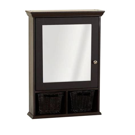 mirrored medicine cabinet zenith 21 in x 29 in mirrored surface mount medicine cabinet with wicker baskets in espresso