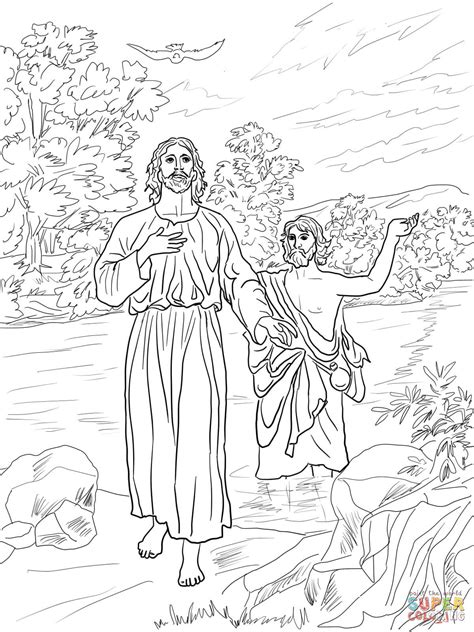 coloring pages john the baptist baptized jesus jesus baptized by john the baptist coloring online super