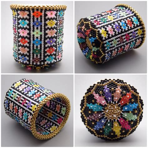 seed bead artists quilt pattern beaded basket collectible bead seed