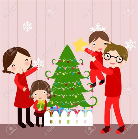 family at christmas clipart