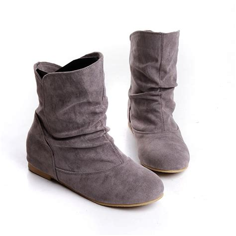 Country Boots Casual Slop Suede womens faux suede pull on flat slouch ankle boots