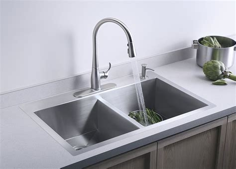 4 hole kitchen sink faucet kohler k 3820 4 na double basin kitchen sink with four