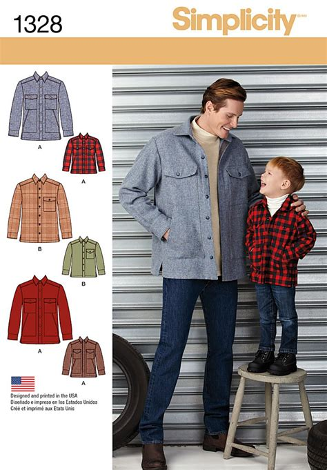 simplicity 1328 boys and s shirt jacket sewing pattern