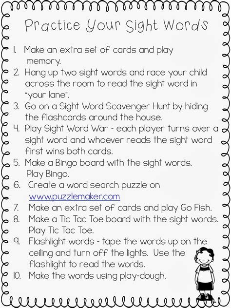 Parent Letter High Frequency Words From Reading To Recess September 2013