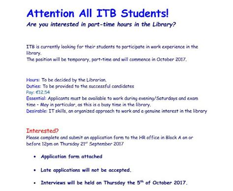 email student itb itb library interested in some part time work in the library