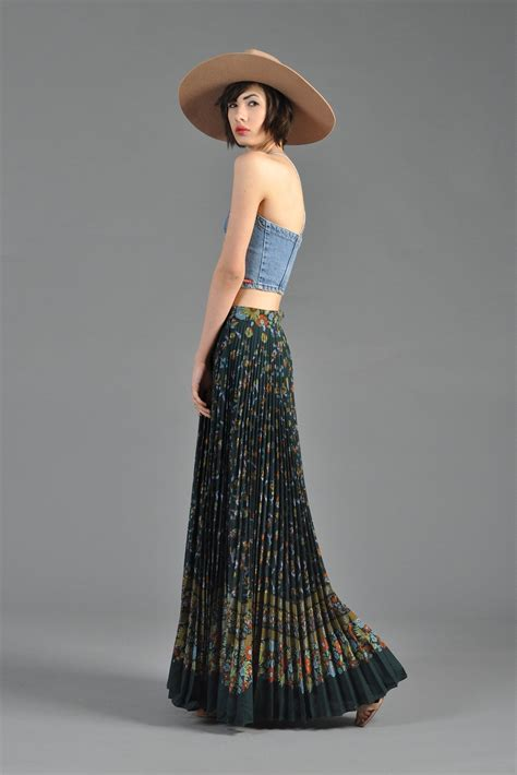 1970s pleated floral maxi skirt with high waist bustown