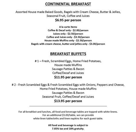 breakfast buffet menu continental breakfast buffet menu www pixshark