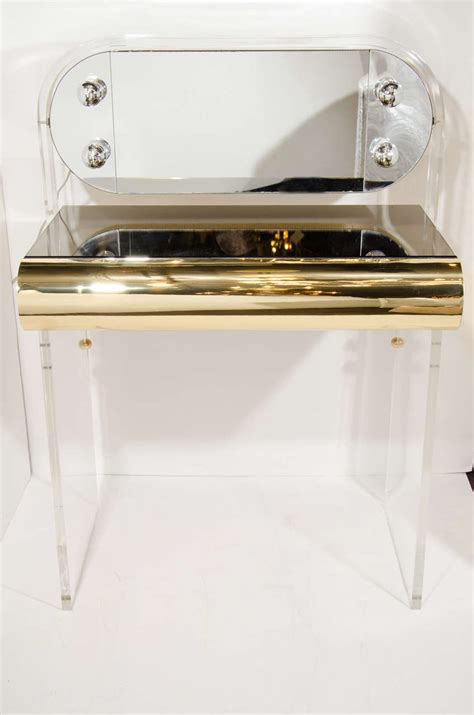Lucite Vanity Table Vintage Illuminated Vanity Table In Lucite Brass And Bronze Mirror At 1stdibs