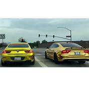Two Monster Cars Audi A7 And BMW M6 Wrapped In Gold Are Cruising