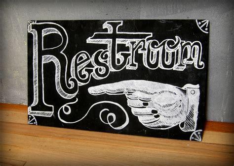 vintage bathroom sign vintage hand and restroom chalkboard sign 95 00 via