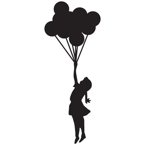 umbrella  silhouettes girl holding balloons