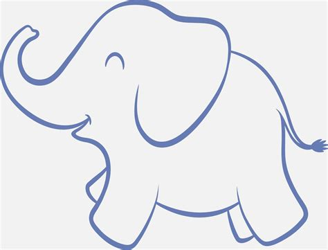 Baby Elephant Template elephant clipart outline trunk up clipartsgram