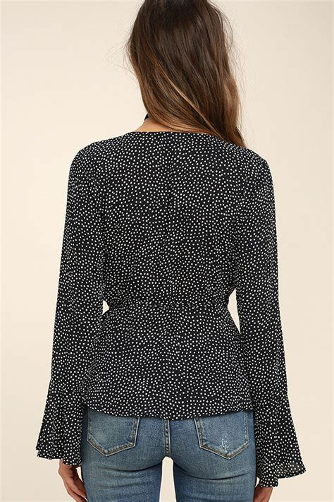 Iv Top Black Polka chic black and white polka dot top print wrap top bell