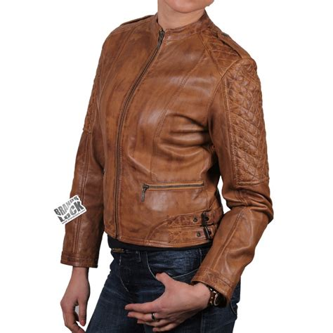 Women Brown Leather Biker Jacket Madisson