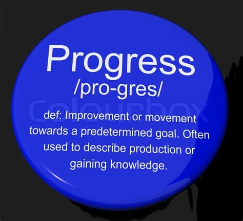 progress definition button showing achievement growth and develo stock photo colourbox