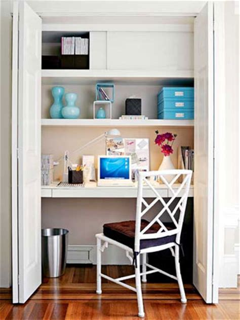 Built In Desk In Closet by Tiny Home Office Spaces Emerald Interiors