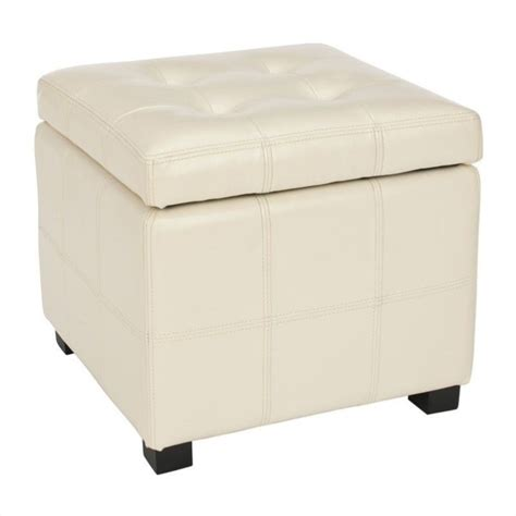 Safavieh William Leather Tufted Storage Ottoman In Flat