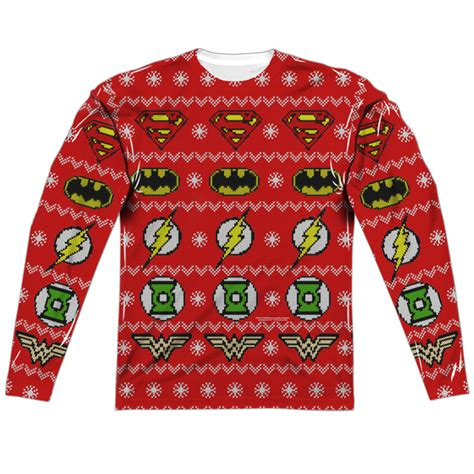 printable ugly christmas sweater justice league ugly christmas sweater print long sleeve