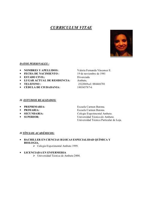 Modelo Curriculum Vitae De Enfermeria Curriculum Vitae