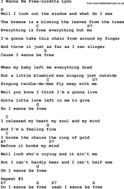 printable music lyrics country music i wanna be free loretta lynn lyrics and chords