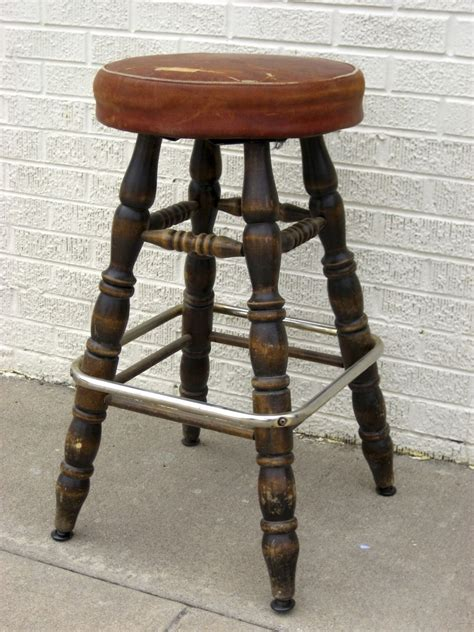 bar stool leather seat vintage 1950 s bar stool leather seat from blacktulip on