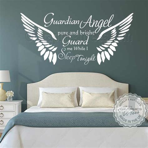 home wall decor stickers guardian bedroom wall sticker quote with wings