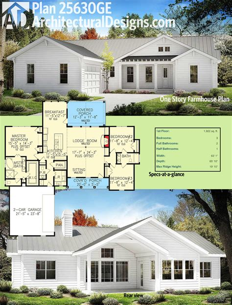 farmhouse architectural plans one story farmhouse plan 3424vl architectural designs
