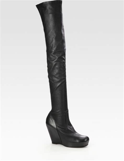 rick owens leather thigh high wedge boots in black lyst
