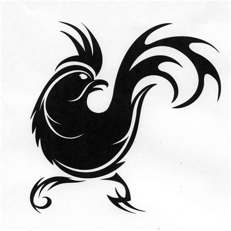 tribal rooster tattoo designs angry tribal rooster silhouette design