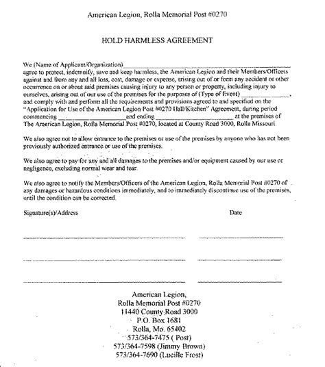 hold harmless waiver template hold harmless agreement template