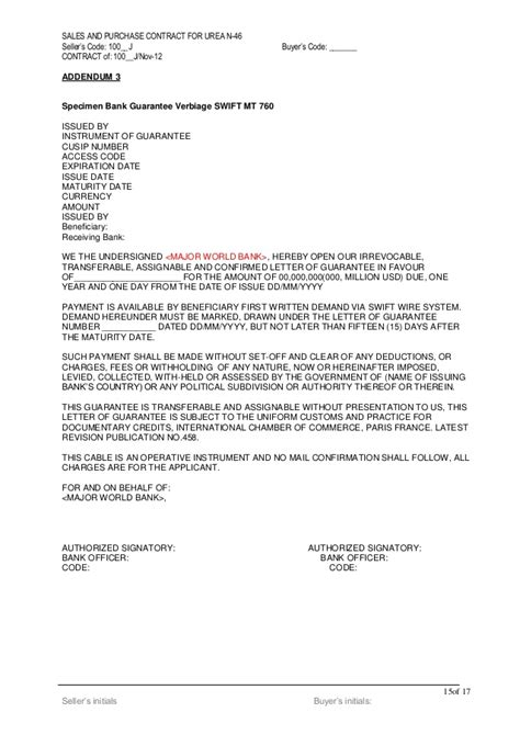 Irrevocable Bank Letter Of Guarantee Urea Draft Contract 1200 K Mt Lc Bg Sblc 2