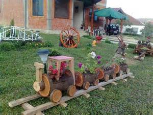 Decorating With Old Tires Log Train Flower Pot Decoration