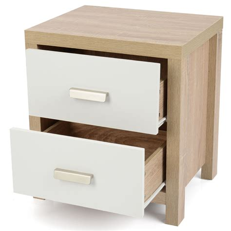 white bedroom table 2 drawer oak effect white wood bedside cabinet modern