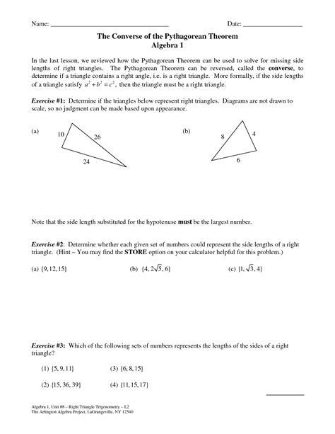 Converse Of The Pythagorean Theorem Worksheet