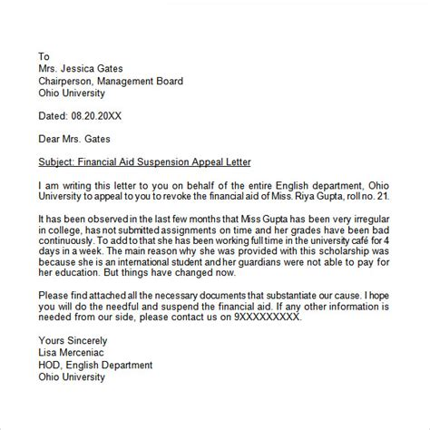 Appeal Letter For Offer Appeal Letter 7 Free Sles Exles Format