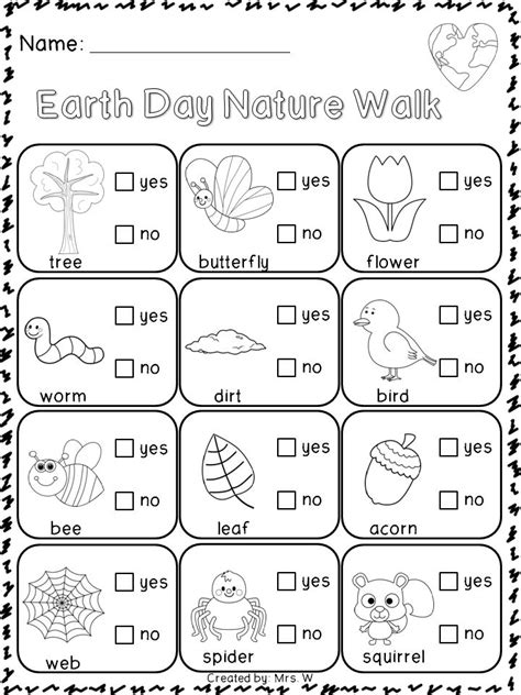 earth day printable worksheets for preschool earth day nature literacy and check lists