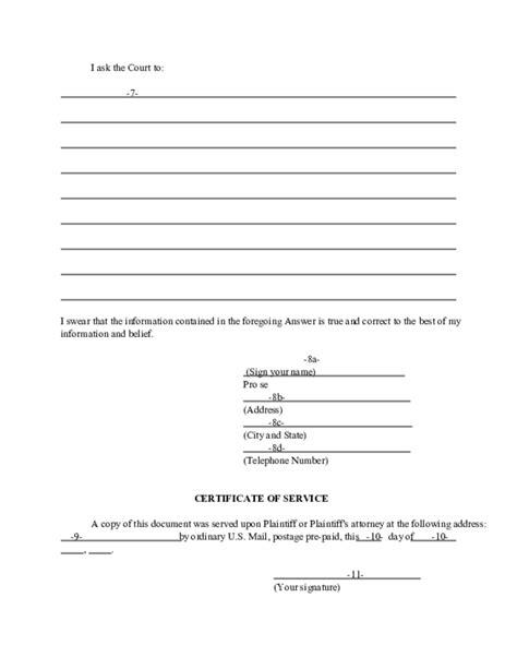 Divorce Complaint Letter Answer To A Divorce Complaint Without Children Ohio Free