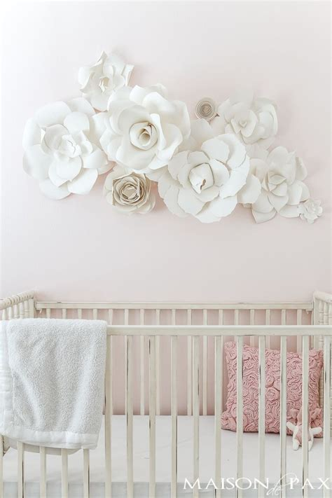 paper flower wall art   nursery blogger home